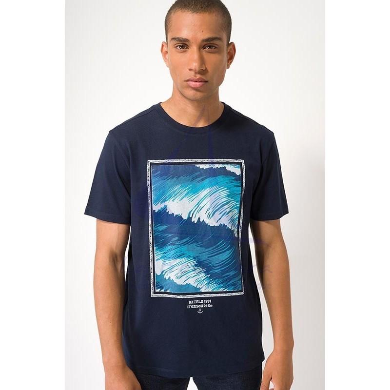 Navy blue Batela men's t-shirt with waves print