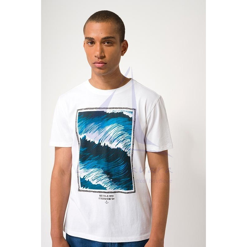 White Batela men's t-shirt with waves print
