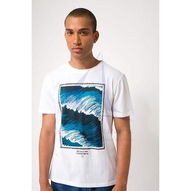 Camiseta Batela de hombre con estampado de olas blanca