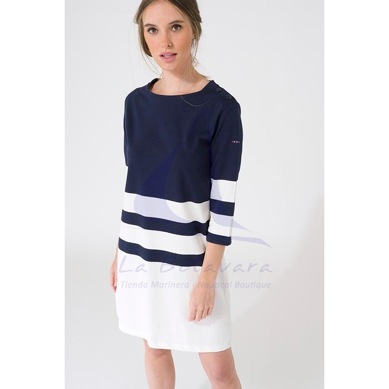 Navy blue and off white Batela dress with 3/4 sleeves