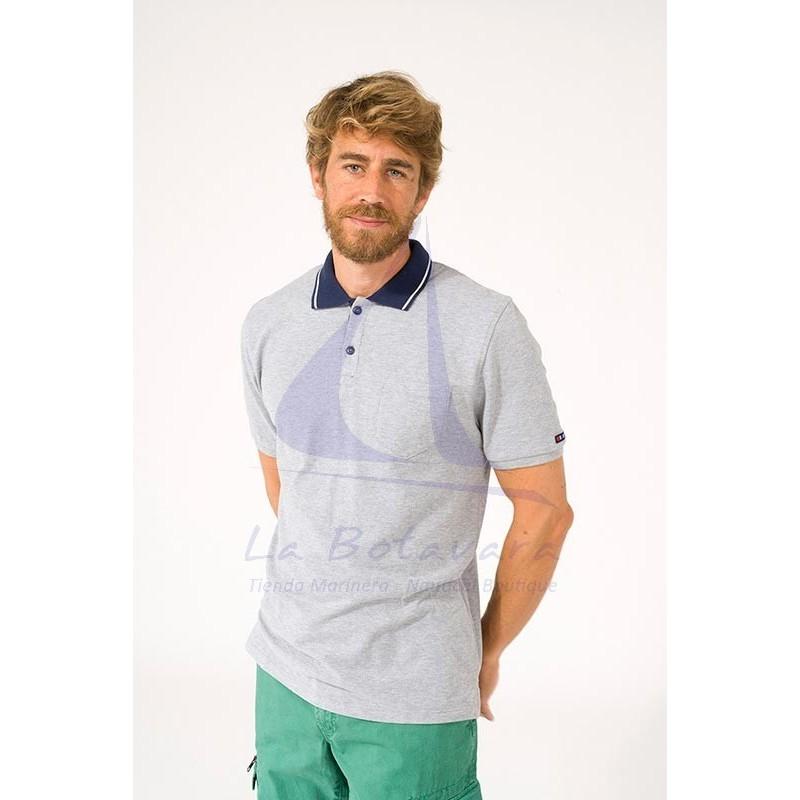 Gray Batela polo shirt with navy blue collar