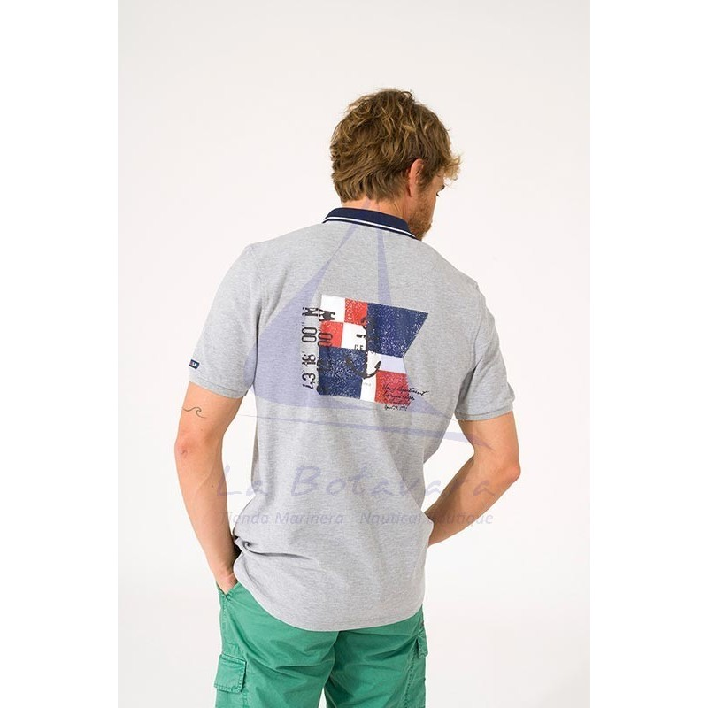 Gray Batela polo shirt with navy blue collar 2