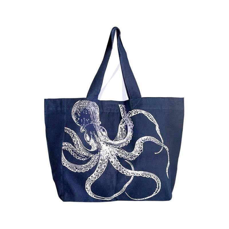 Bolso azul con pulpo blanco