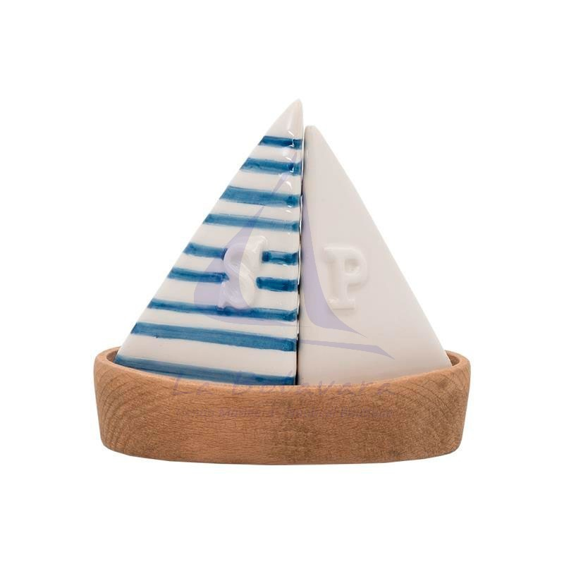 Salero y pimentero velero con base de madera