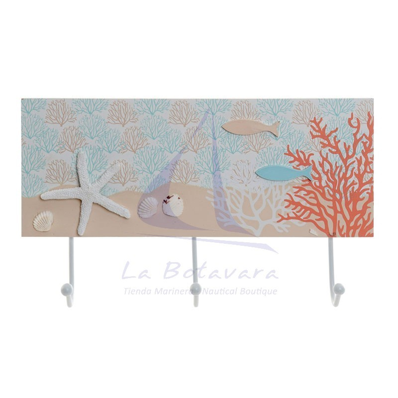 Coral coat rack with 3 hooks