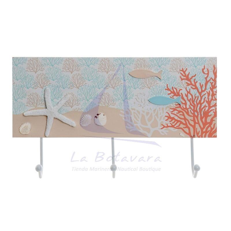 Perchero de 3 ganchos con corales