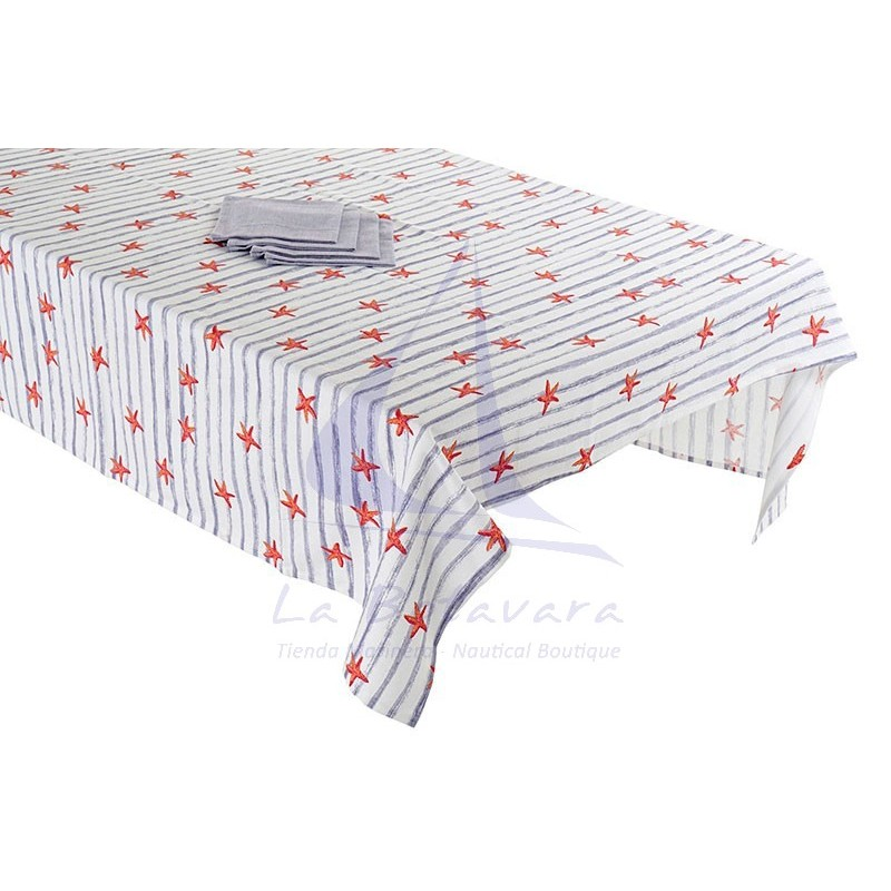 Blue striped tablecloth with starfish