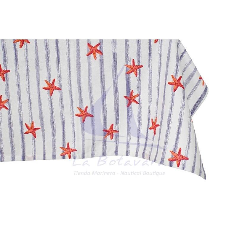 Mantel de rayas azules y estrellas de mar 3