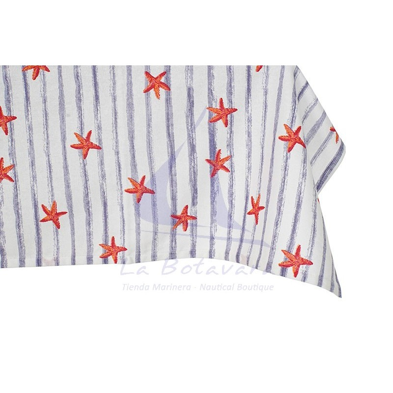 Blue striped tablecloth with starfish 3