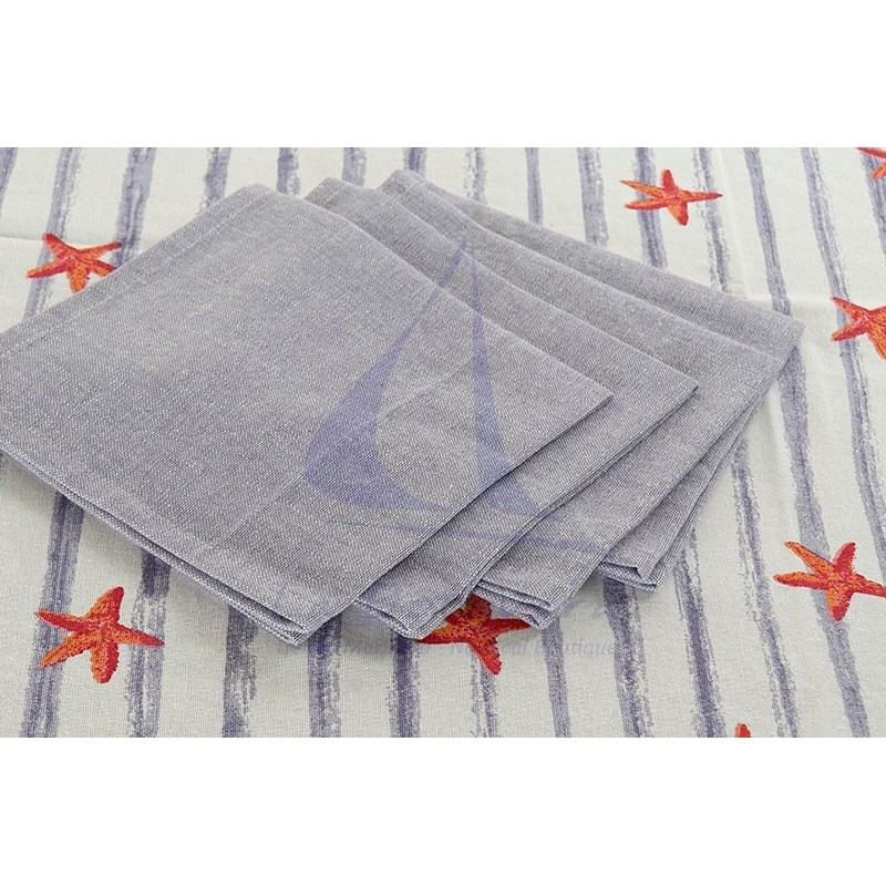 Mantel de rayas azules y estrellas de mar 4