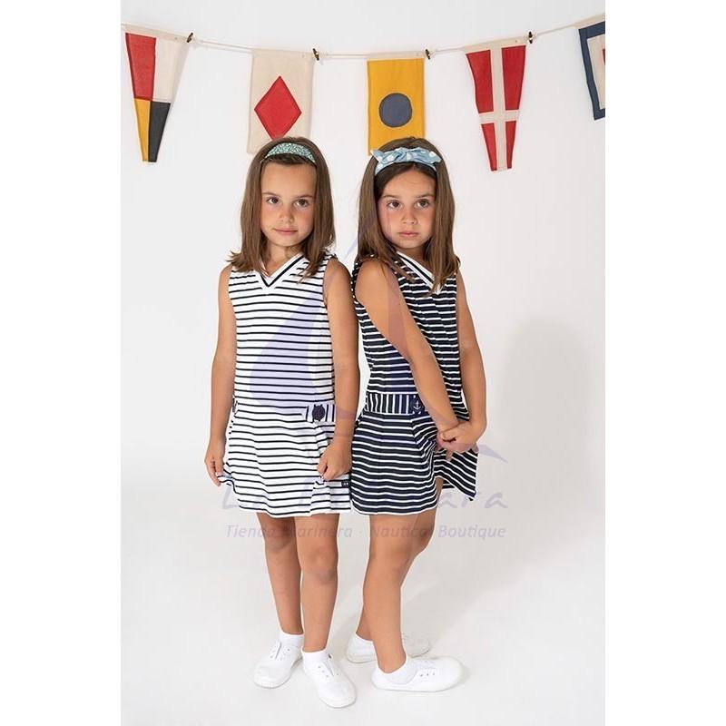 White & navy blue striped Batela girl dress with V-neck 4