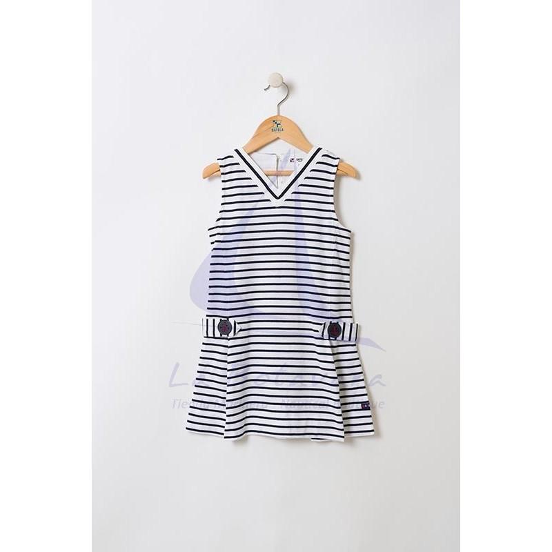 White & navy blue striped Batela girl dress with V-neck 2