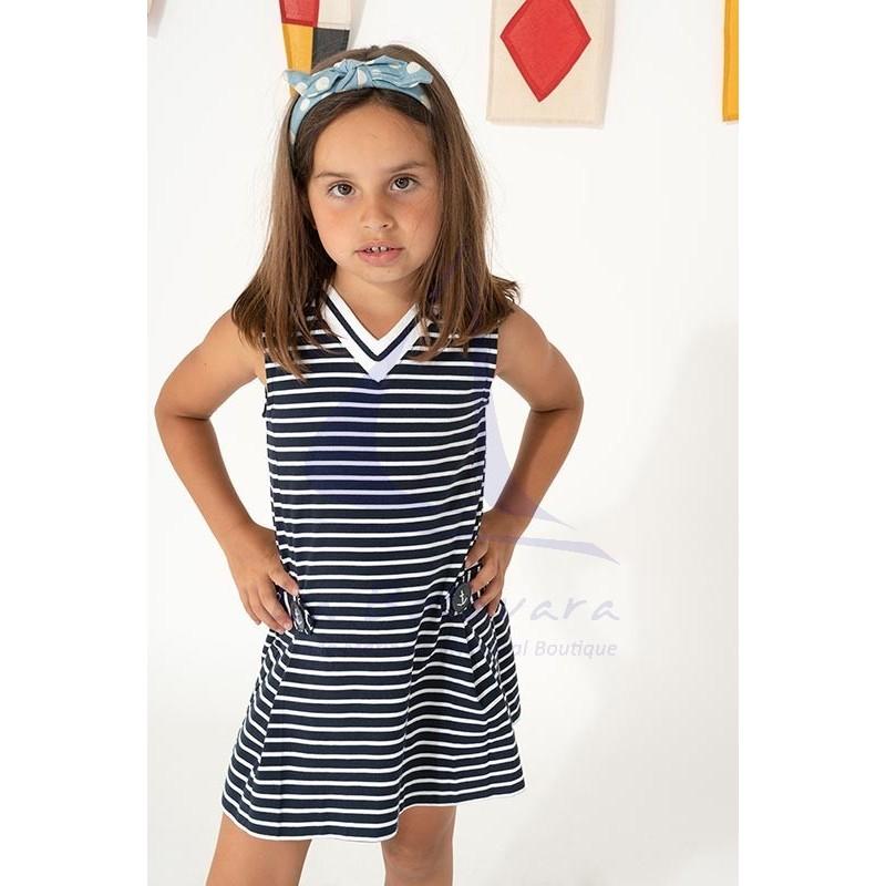 Vestido Batela de niña a rayas con cuello de pico marino y blanco