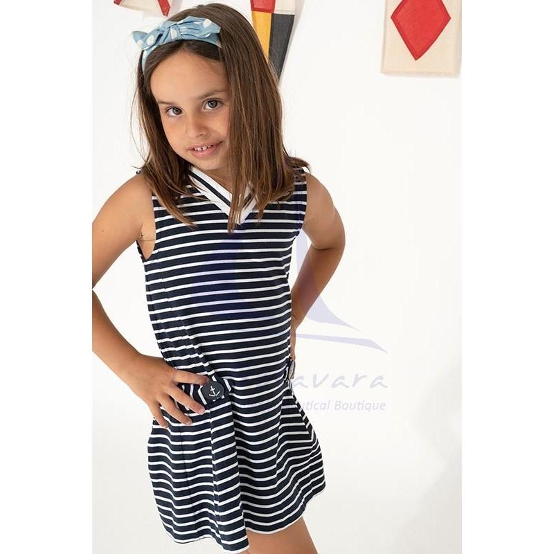 Vestido Batela de niña a rayas con cuello de pico marino y blanco 3
