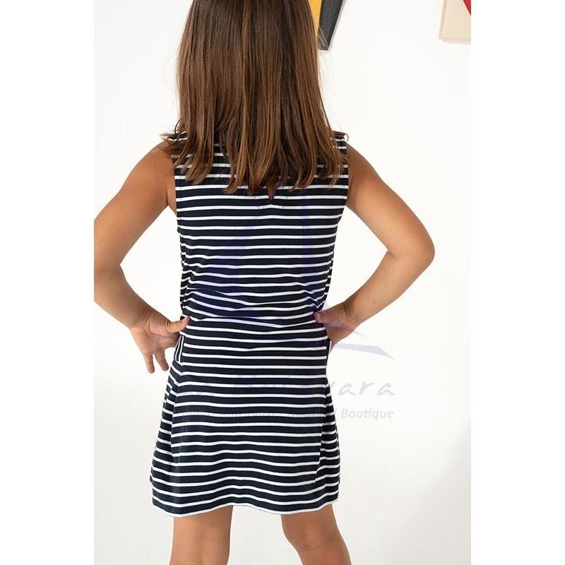 Vestido Batela de niña a rayas con cuello de pico marino y blanco 4