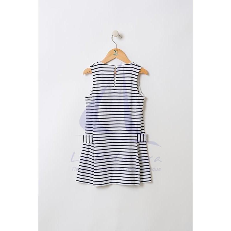 White & navy blue striped Batela girl dress with V-neck 3
