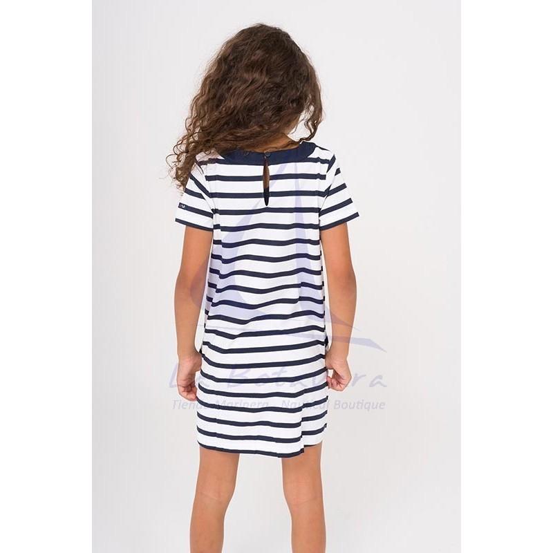 Vestido Batela de niña con cuello de cabo blanco y azul marino 2
