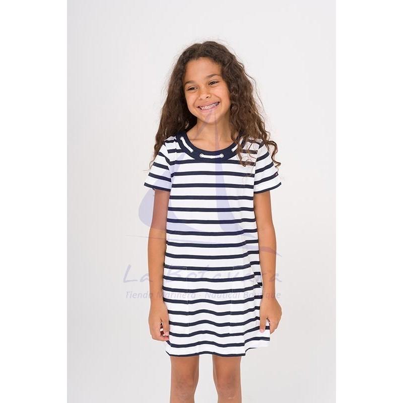 Vestido Batela de niña con cuello de cabo blanco y azul marino 3