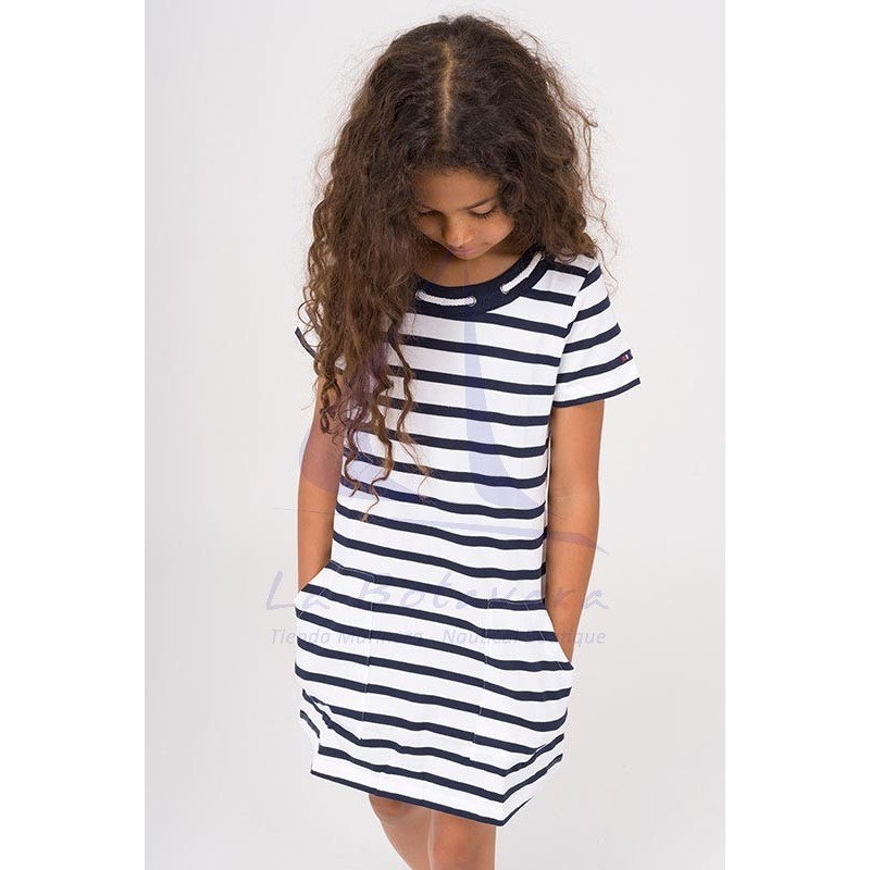 Vestido Batela de niña con cuello de cabo blanco y azul marino 4