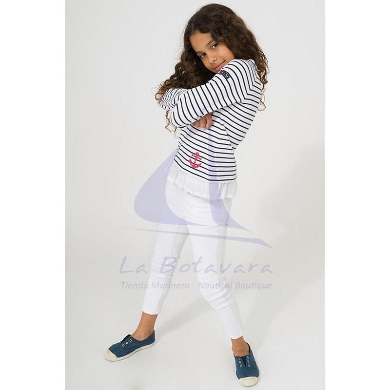 Camiseta Batela niña con volantes blanco y azul marino 3