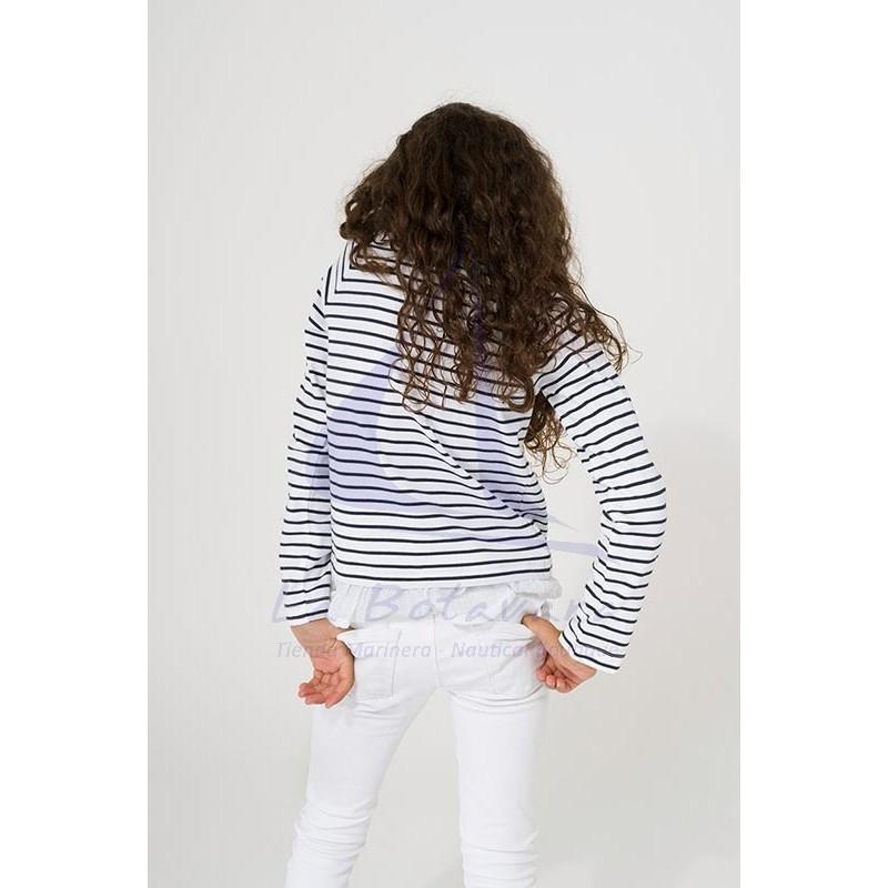 Camiseta Batela niña con volantes blanco y azul marino 2