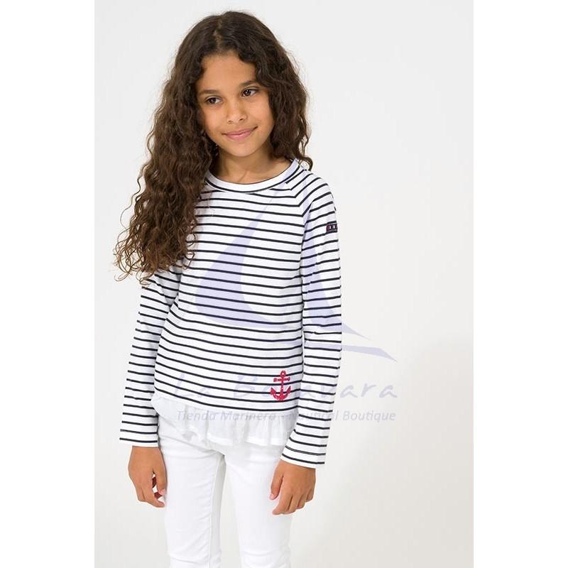 Camiseta Batela niña con volantes blanco y azul marino