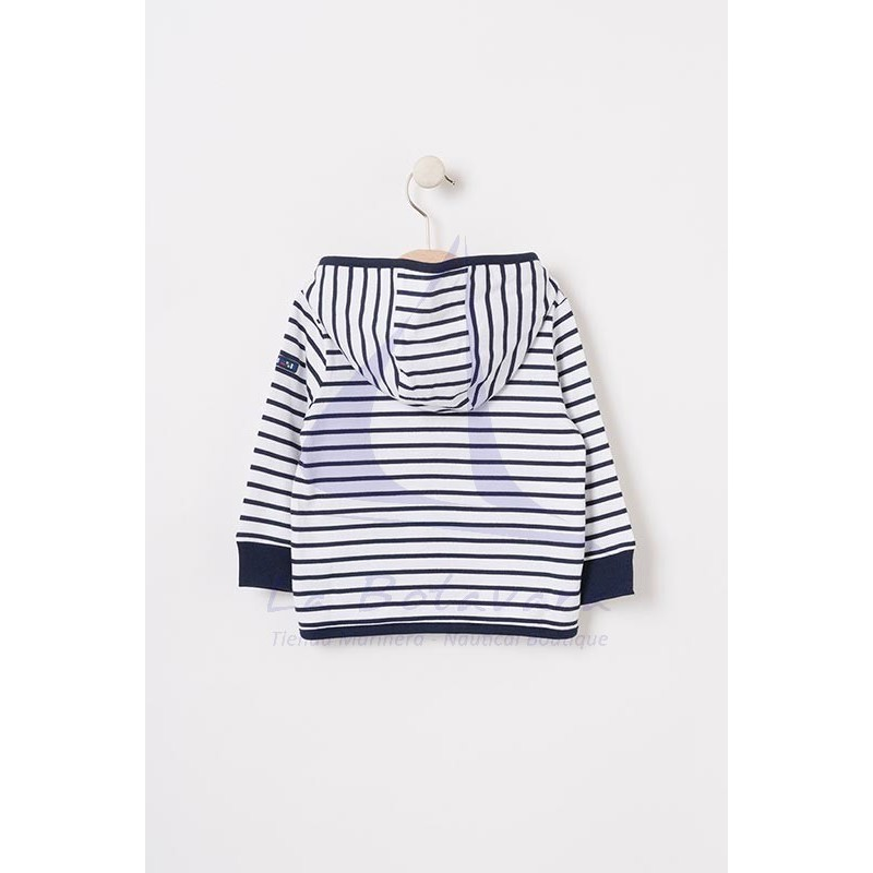 White and navy striped baby jacket with red anchor 3