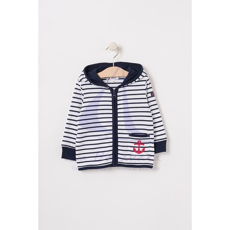 White and navy striped baby jacket with red anchor 2