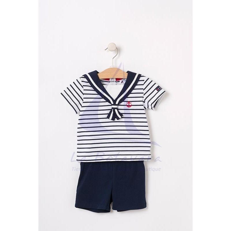 Set of white & navy striped Batela baby t-shirt & navy blue shorts 3