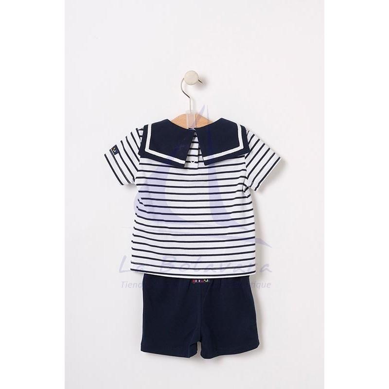 Set of white & navy striped Batela baby t-shirt & navy blue shorts 4