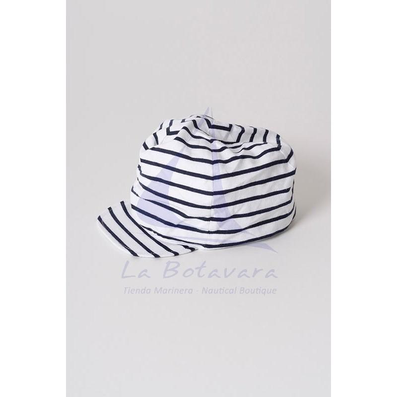 WHITE & NAVY BLUE BATELA BABY CAP 2