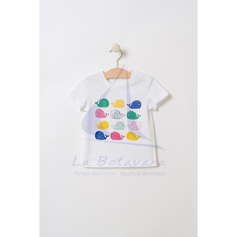 Batela baby t-shirt with colored whales