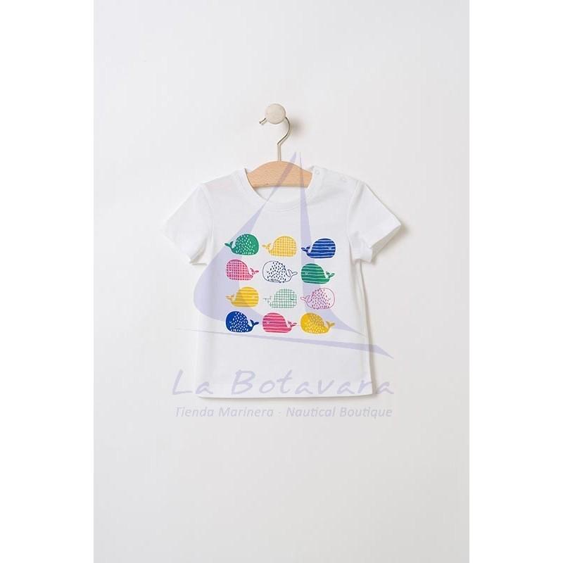 Camiseta Batela de bebe con ballenitas de colores