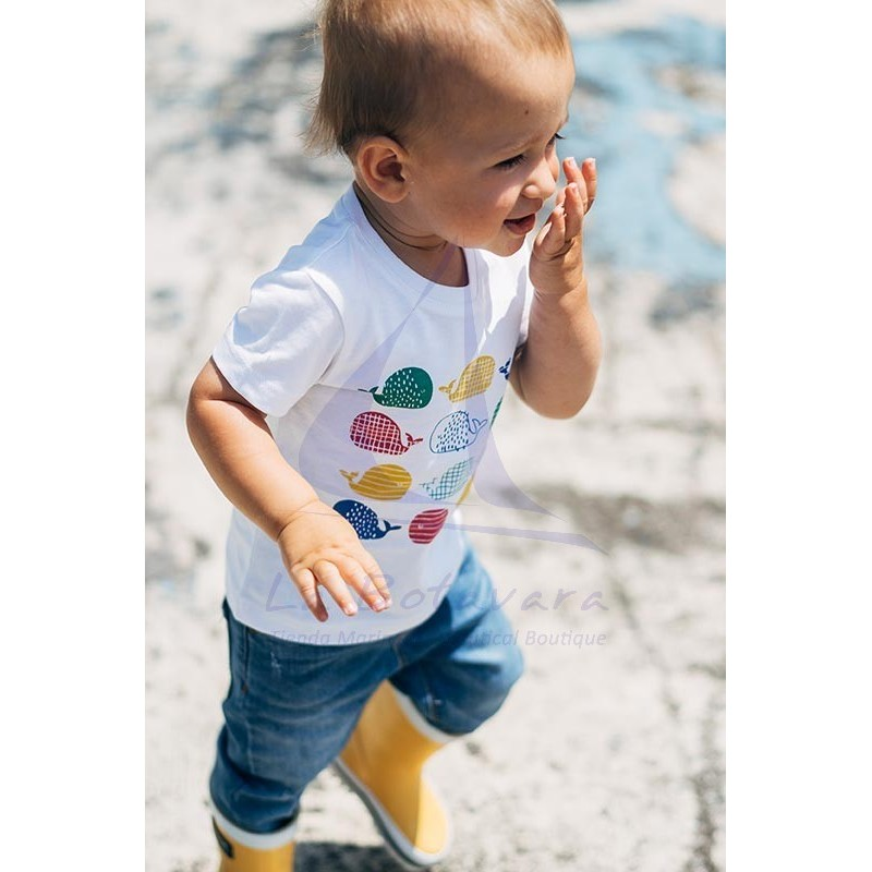 Batela baby t-shirt with colored whales 3