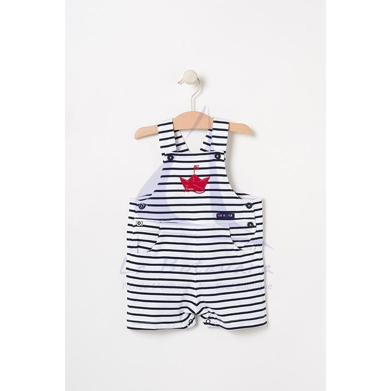 White & navy blue striped Batela baby overall with boat detail
