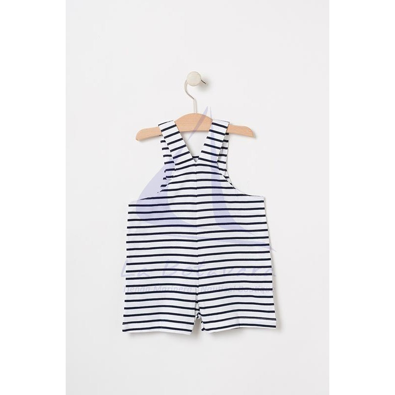 White & navy blue striped Batela baby overall with boat detail 2