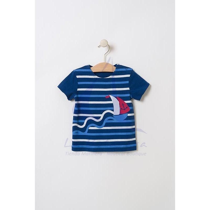 Camiseta Batela de bebe con rayas y velero