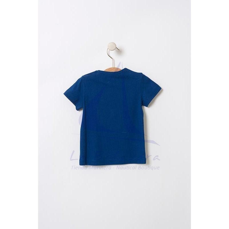Camiseta Batela de bebe con rayas y velero 2