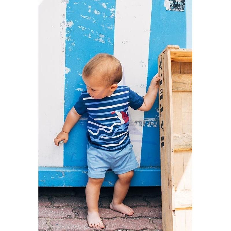 Camiseta Batela de bebe con rayas y velero 3