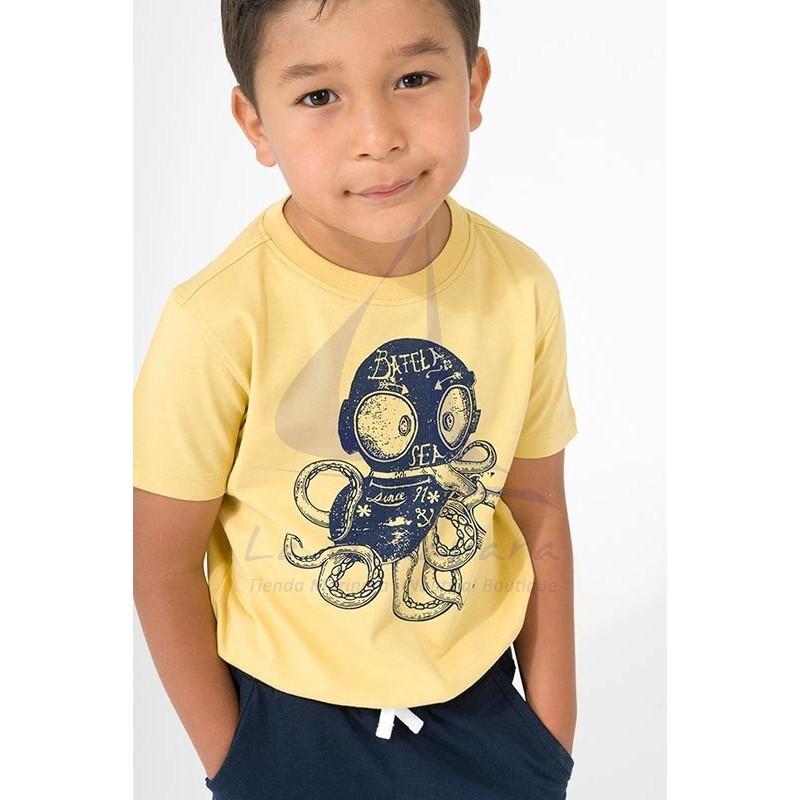 Camiseta Batela de niño amarilla con pulpo
