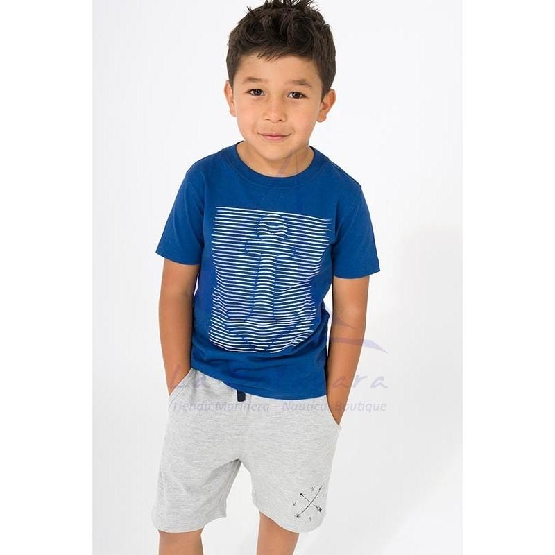 Camiseta Batela de niño azul con ancla a rayas