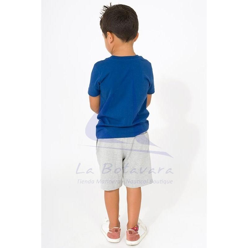 Camiseta Batela de niño azul con ancla a rayas 2