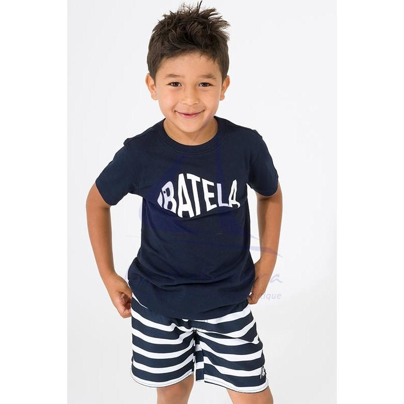 Camiseta Batela de niño azul marino con diseño de pez