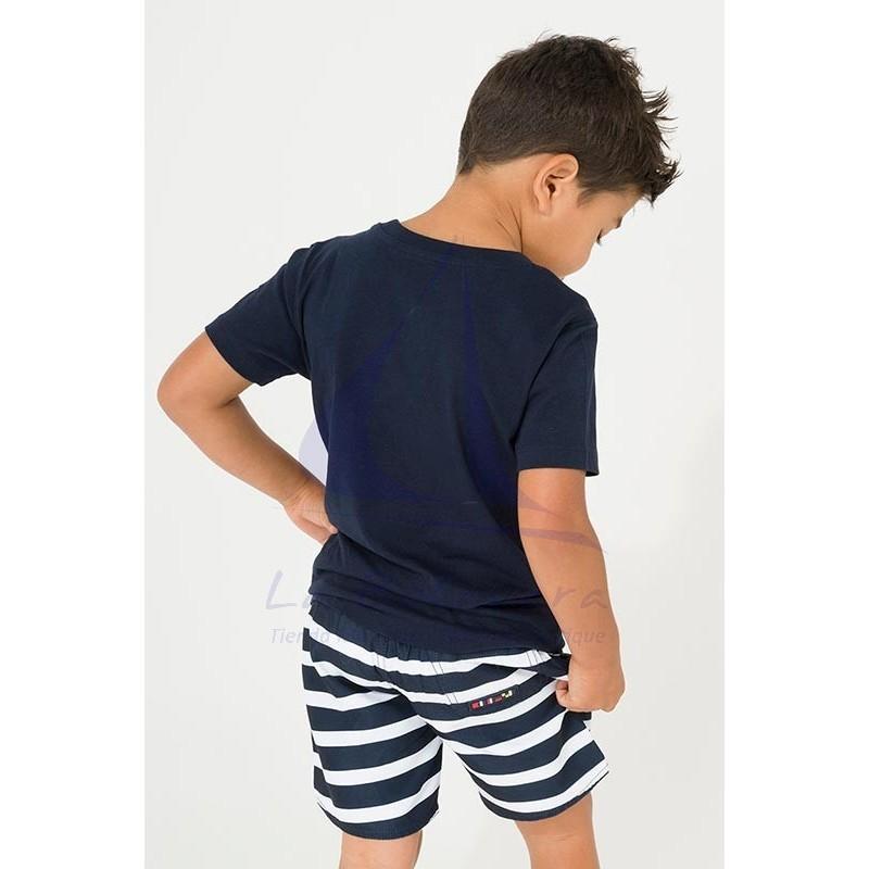 Camiseta Batela de niño azul marino con diseño de pez 3