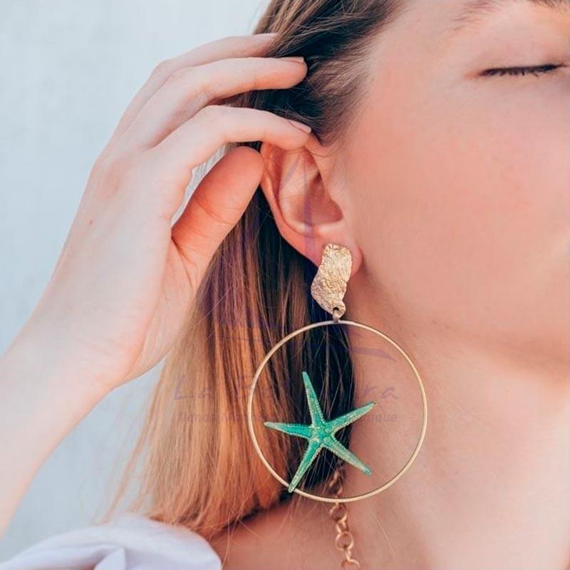 Brass starfish hoop earrings 2