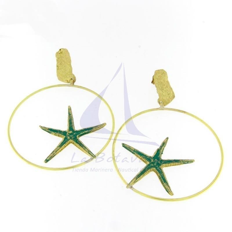 Pendientes de aro con estrella de mar de latón