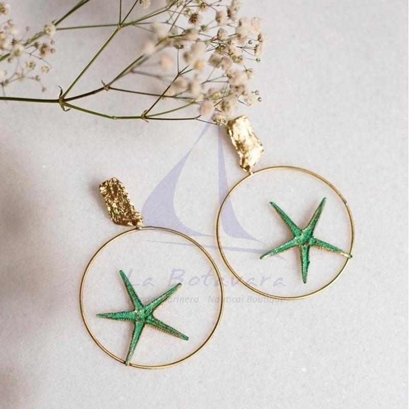 Pendientes de aro con estrella de mar de latón 3