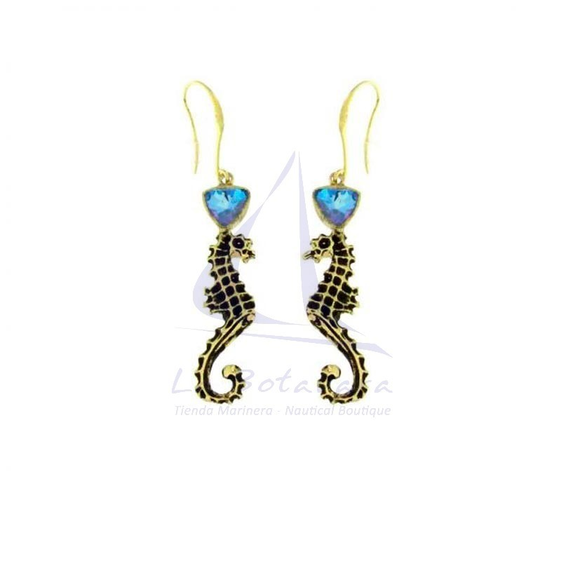 Brass seahorse earrings with blue crystal