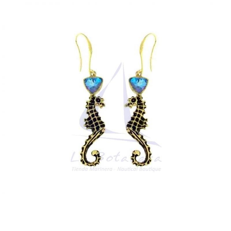 Pendientes caballito de mar de latón con cristal azul