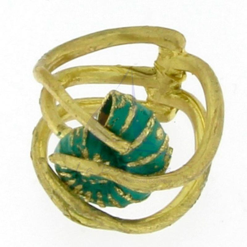 Brass ring with shell 3